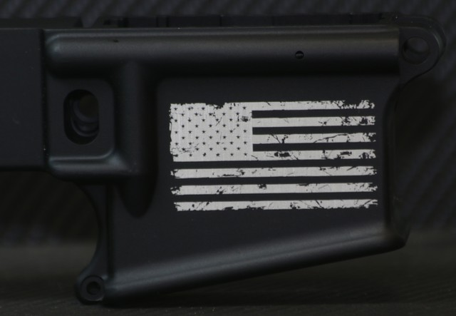 custom ar15 distressed flag engraving