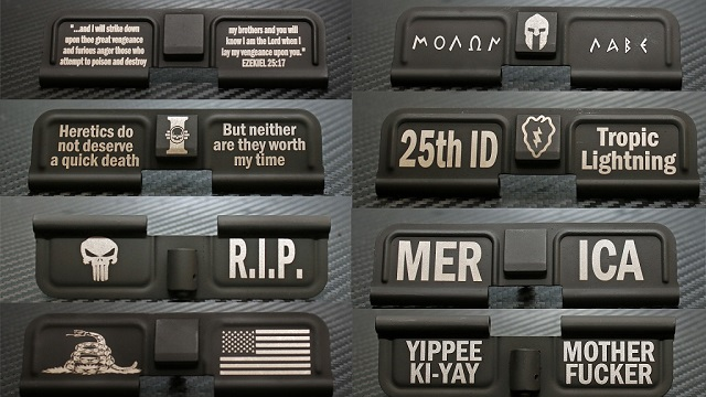 custom laser engraved ar15 cerakoted ejection port dust covers examples