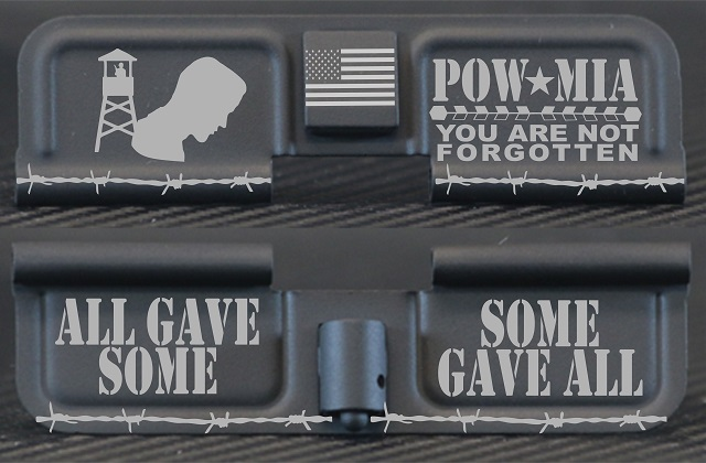 POW-MIA Tribute Engraved AR15 Ejection Port Dust Cover - Premium Images Inside & Outside