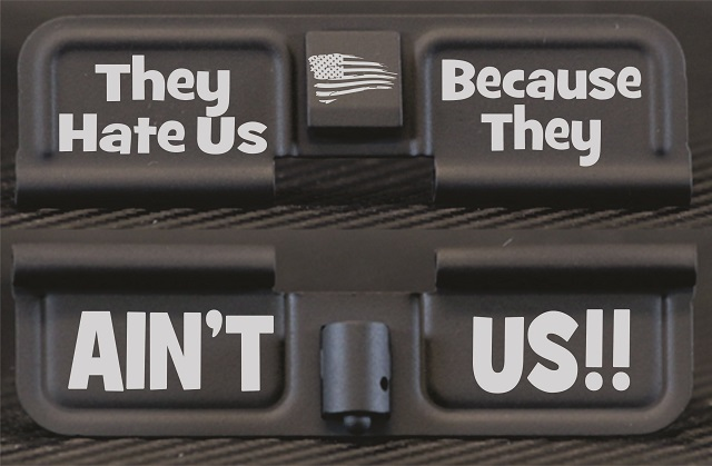 They Hate Us Because They Ain't Us Engraved AR10 Ejection Port Dust Cover - Premium Images Inside & Outside
