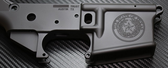 custom ar15 with Texas state seal and NFA SBR engraving