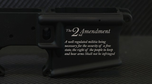 custom engraved ar15 lower with classy 2nd amendment stylized text