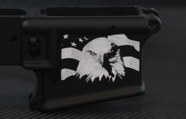 custom laser ar15 with bald eagle and wavy US flag