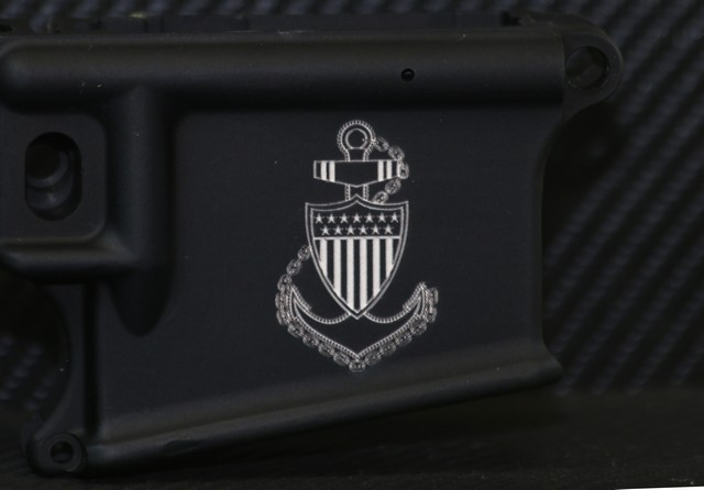 laser engraved ar15 with navy officer crest deep engraved
