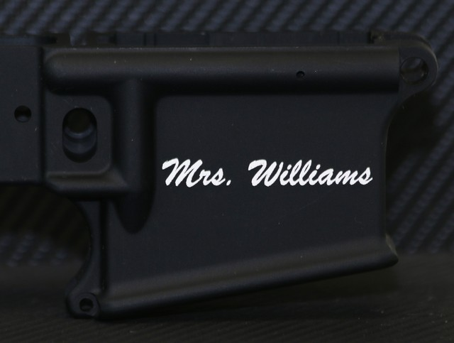 engraved ar-15 lower receiver wedding gift with classy name
