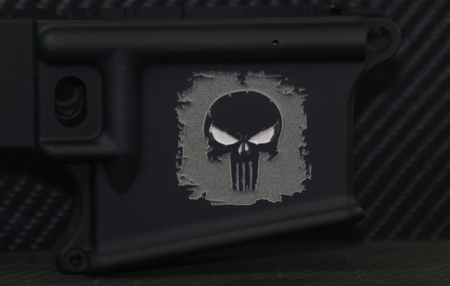 laser engraved ar15 with custom textured punisher deep engraved background