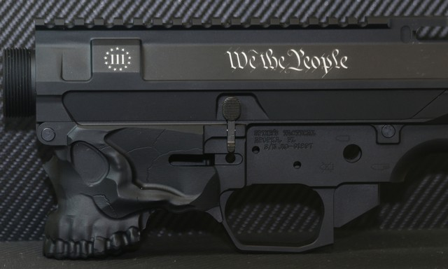 laser engraved ar15 with 3 percent and we the people deep engraved
