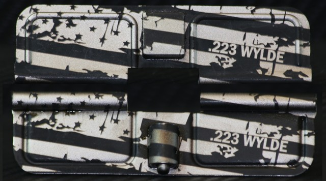 custom laser engraved ar15 distressed american flag with calibers ejection port dust covers