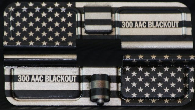 custom laser engraved ar15 american flag with calibers ejection port dust covers
