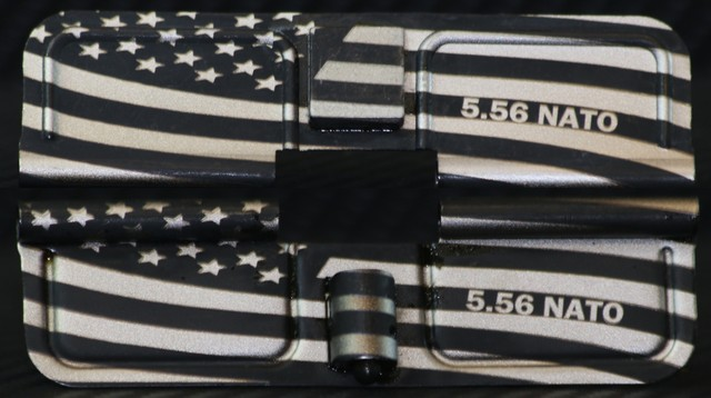 custom laser engraved ar15 with wavy american flag and calibers ejection port dust covers
