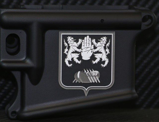 laser engraved ar15 with enhanced 3D family crest deep engraving