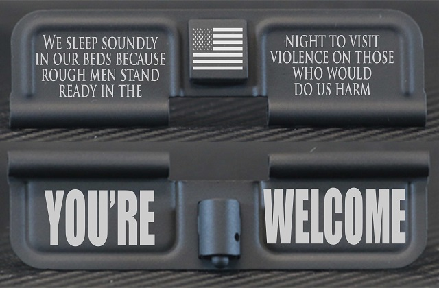 Rough Men Stand Ready Engraved AR10 Ejection Port Dust Cover - Premium Images Inside & Outside