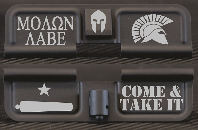 Molon Labe Come & Take It Engraved AR10 Ejection Port Dust Cover - Premium Images Inside & Outside