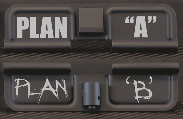 Plan A Plan B Engraved AR15 Ejection Port Dust Cover - Premium Images Inside & Outside