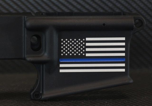 Thin Blue Line Flag Custom Engraved AR-15 Receiver