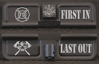 Firefighter First In Last Out Engraved AR15 Ejection Port Dust Cover - Premium Images Inside & Outside