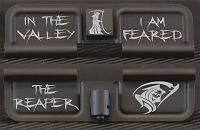 In The Valley I Am Feared Engraved AR10 Ejection Port Dust Cover - Premium Images Inside & Outside