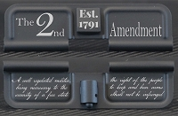 2nd Amendment Est 1791 Engraved AR15 Ejection Port Dust Cover - Premium Images Inside & Outside