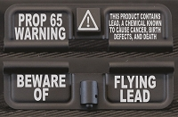PROP 65 Lead Warning Engraved AR15 Ejection Port Dust Cover - Premium Images Inside & Outside