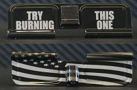 Try Burning This Flag Engraved AR10 Ejection Port Dust Cover - Premium Images Inside & Outside