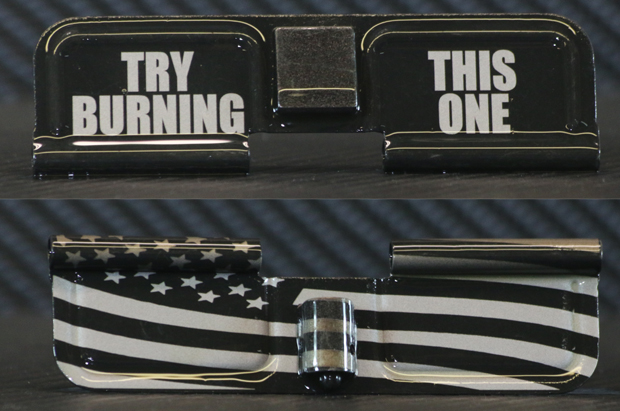 Try Burning This Flag Engraved AR15 Ejection Port Dust Cover - Premium Images Inside & Outside