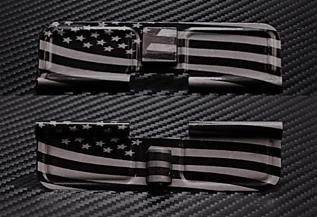custom laser engraved ar15 wavy american flag ejection port dust covers