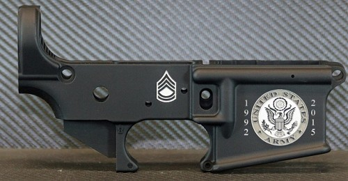 Military Service Engraved AR15 Lower Receiver - Enhanced 3D Service Branch Logos and Customization