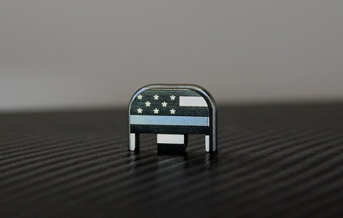 Blue Line Flag Laser Engraved Titanium Glock Slide Back Plate