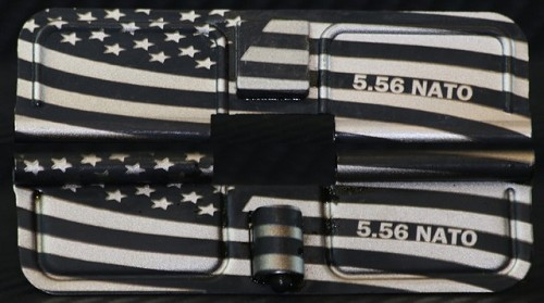 American US Flag Engraved AR15 Ejection Port Dust Cover with Calibers - Premium Images Inside & Outside