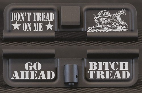 Don't Tread On Me Engraved AR15 Ejection Port Dust Cover - Premium Images Inside & Outside