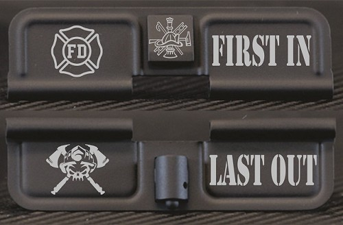 Firefighter First In Last Out Engraved AR Ejection Port Dust Cover
