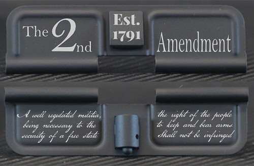 2nd Amendment Est 1791 Engraved AR10 Ejection Port Dust Cover - Premium Images Inside & Outside