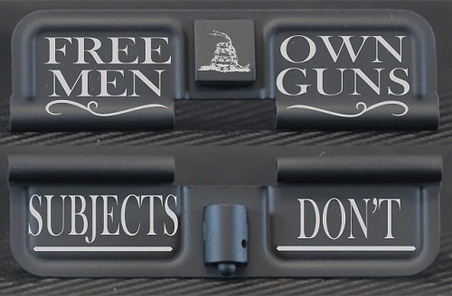 Free Men Own Guns Engraved AR15 Ejection Port Dust Cover - Premium Images Inside & Outside