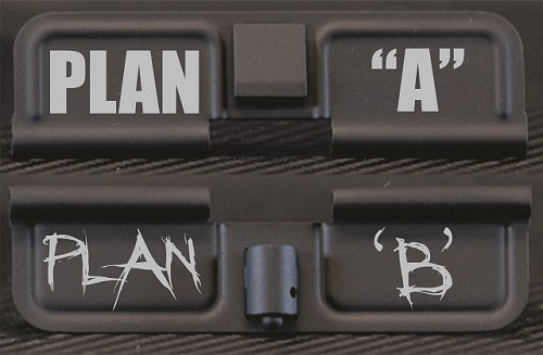 Plan A Plan B Engraved AR10 Ejection Port Dust Cover - Premium Images Inside & Outside