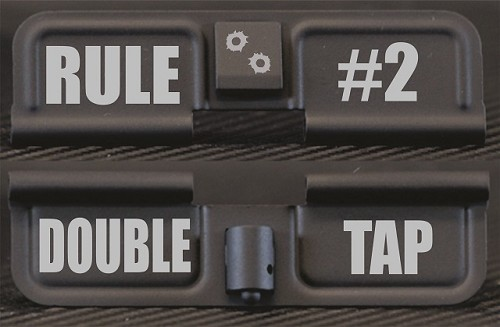 Rule #2 Double Tap Engraved AR15 Ejection Port Dust Cover - Premium Images Inside & Outside