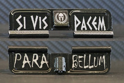 Si Vis Pacem Para Bellum Engraved AR10 Ejection Port Dust Cover - Premium Images Inside & Outside