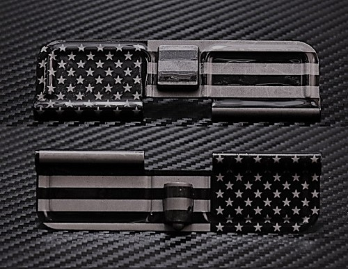 Standard American US Flag Full Panel Engraved AR15 Ejection Port Dust Cover - Premium Images Inside & Outside