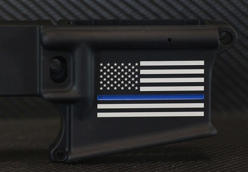 Thin Blue Line Flag Custom Engraved AR-15 Receiver