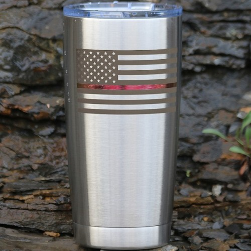 Thin Red Line Flag Tumbler Personalized With Your Text or Name