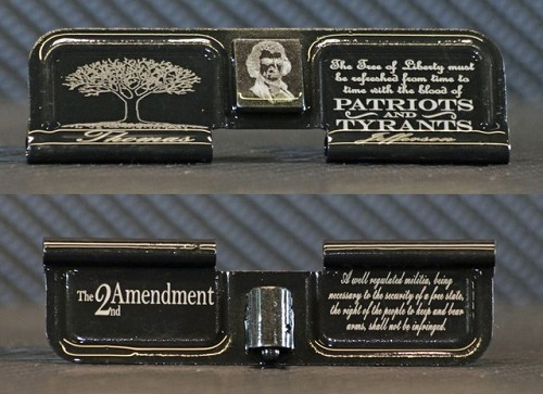 Tree of Liberty 2nd Amendment Engraved AR15 Ejection Port Dust Cover - Premium Images Inside & Outside